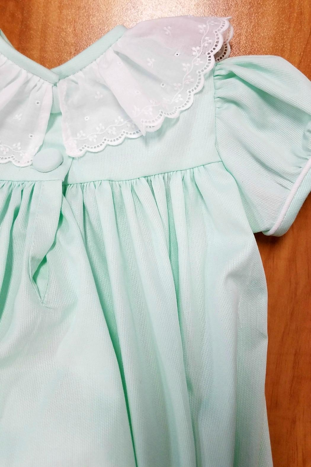 James & Lottie Fiona Seafoam-Green-White-Eyelet-Collar Bubble - Front Full Image