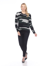 AZI Jamie Distressed Camo Sweater - Front cropped