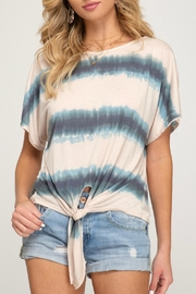 She + Sky Jamie Front-Tie Shirt - Front full body