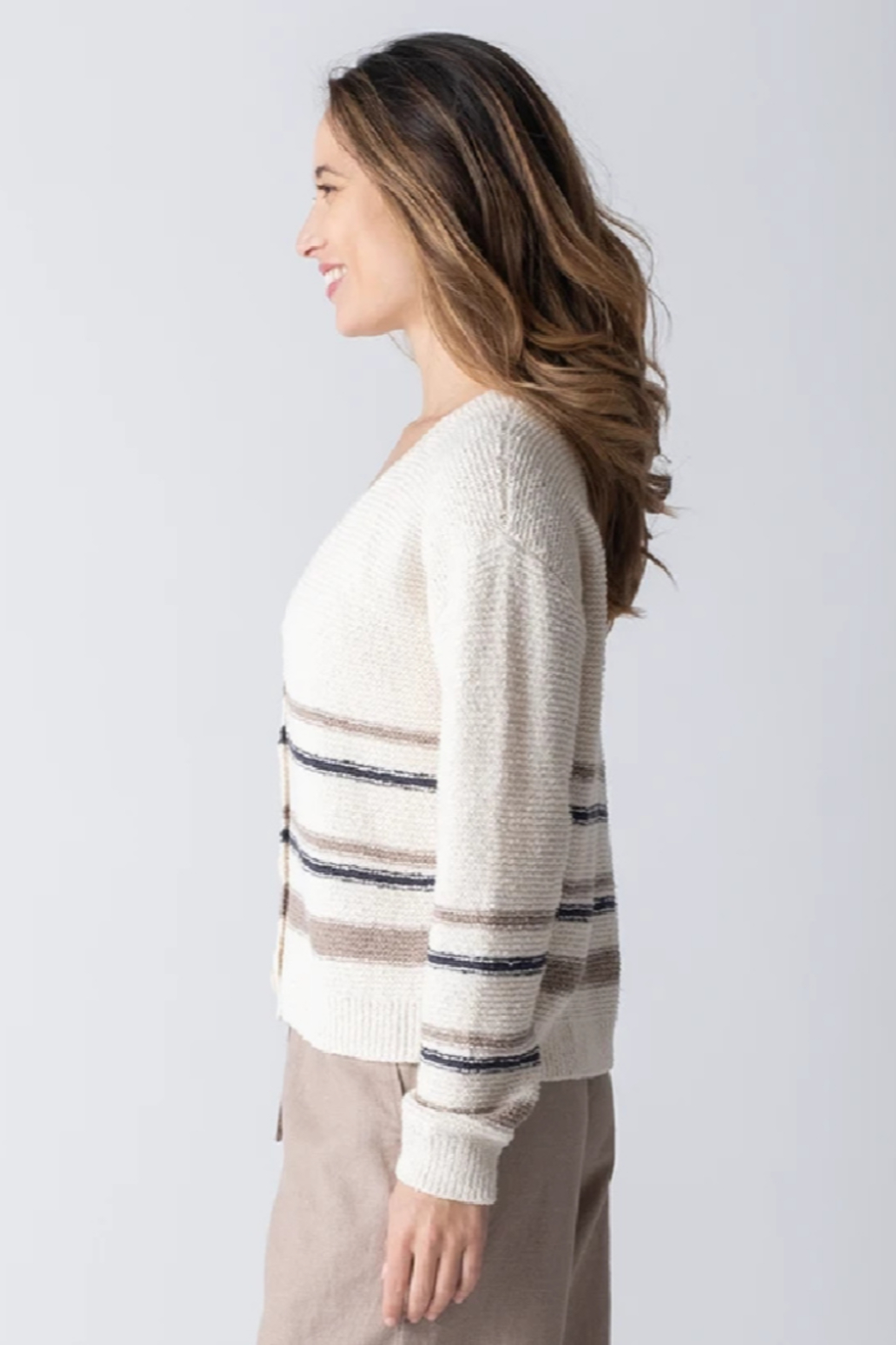 Margaret O'Leary Jamie Striped Cardigan - Side Cropped Image