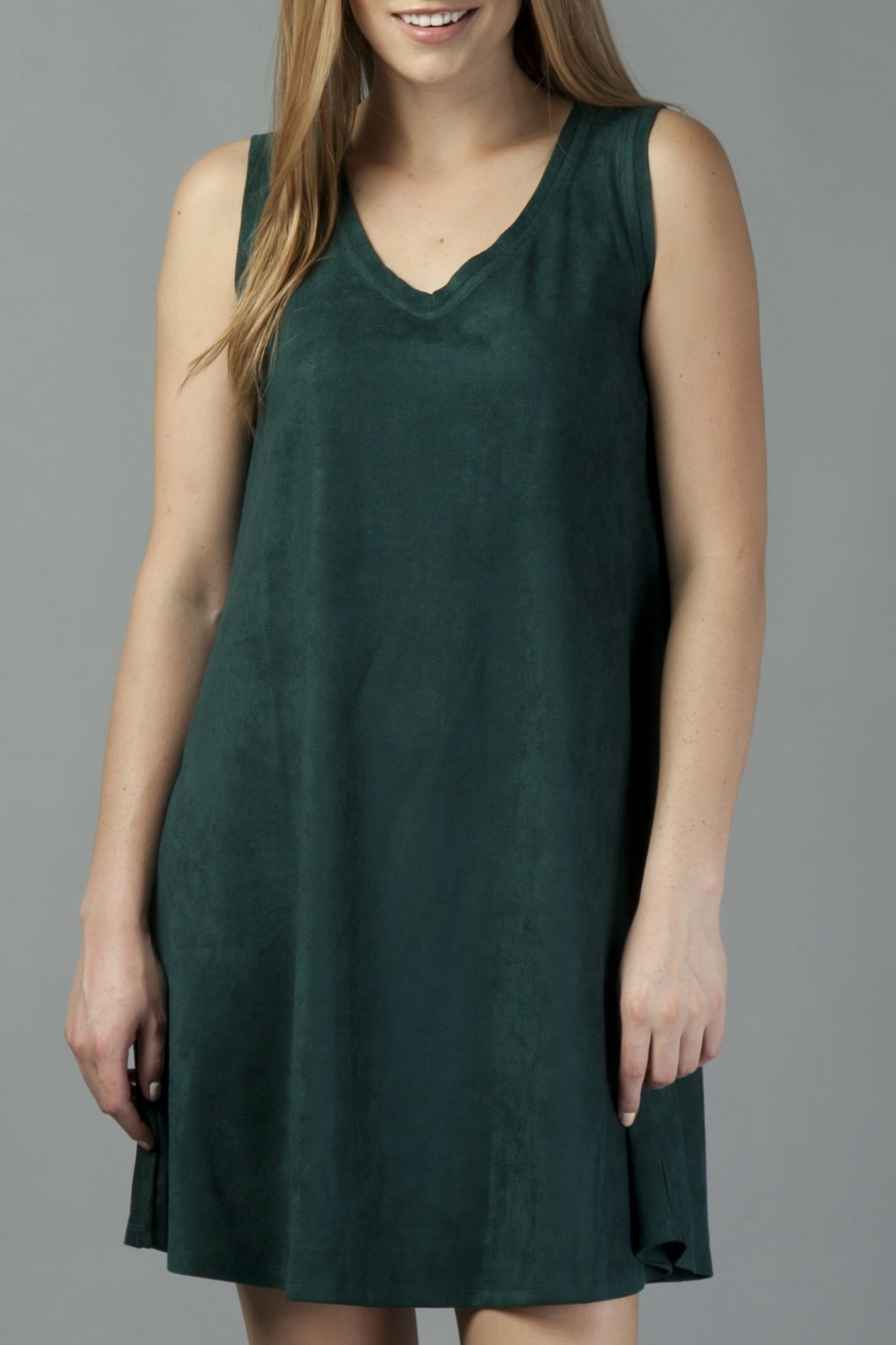 Another Love Jane Knit Suede V-Neck Swing Dress - Main Image