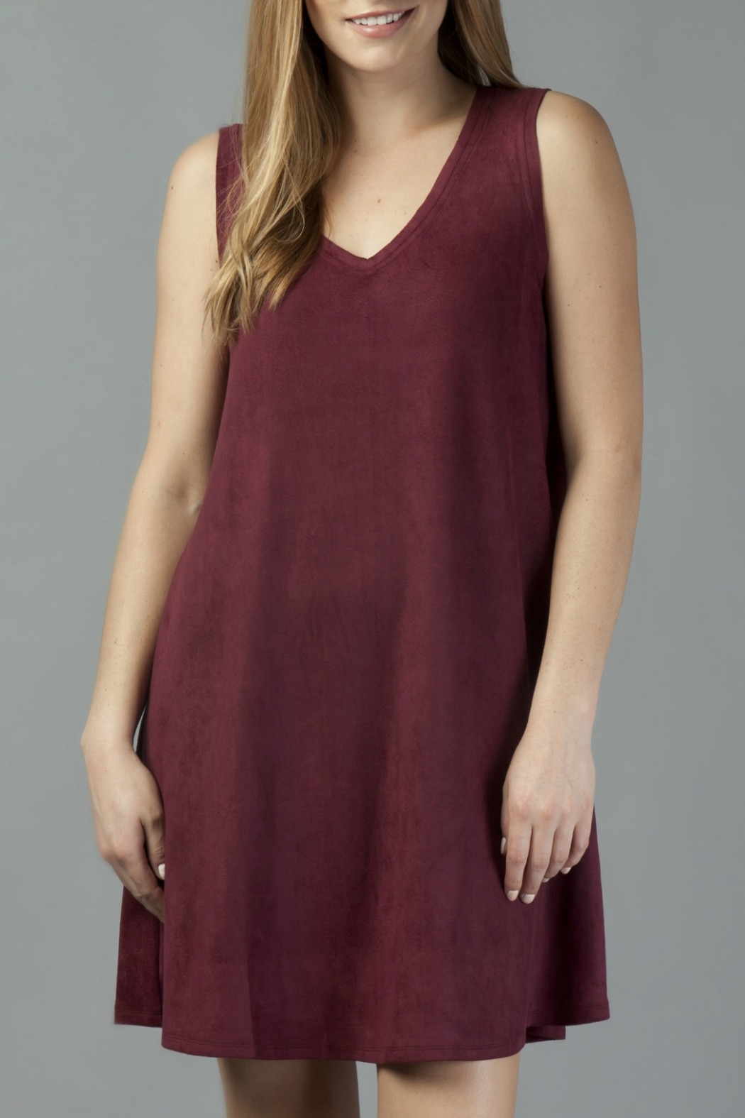 Another Love Jane Knit Suede V-Neck Swing Dress - Front Cropped Image