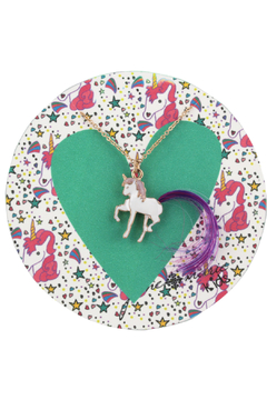 Jane Marie Unicorn Necklace with Purple Tail Hair - Alternate List Image