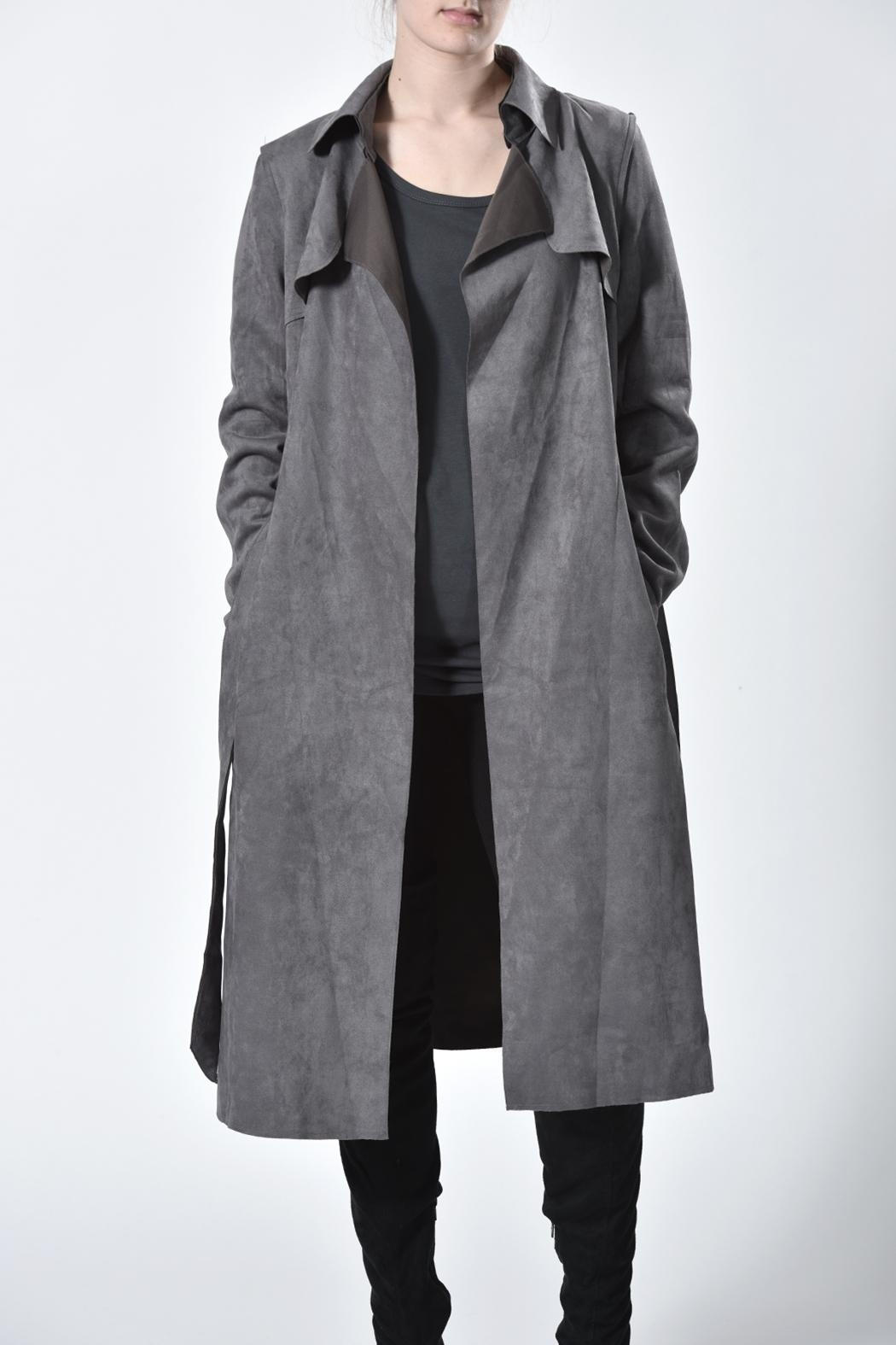 jane plus one Faux Suede Coat - Front Full Image