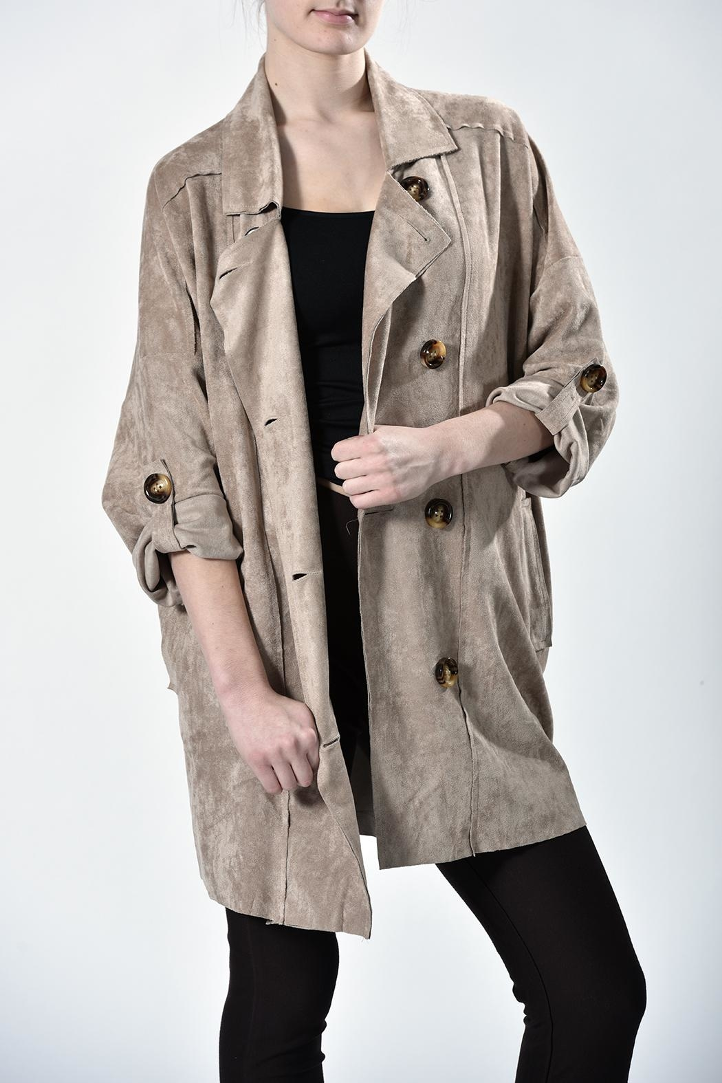 jane plus one Faux Suede Jacket - Front Cropped Image