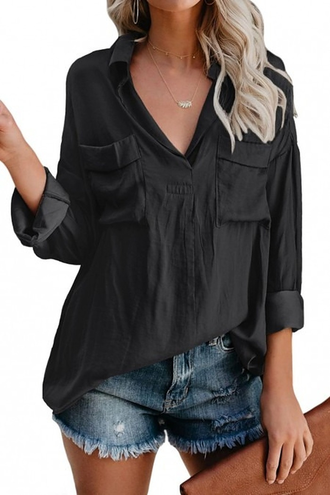 STAY WARM STYLE Janet Boyfriend Blouse - Front Cropped Image