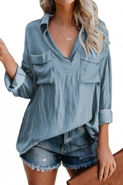 STAY WARM STYLE Janet Boyfriend Blouse - Front cropped