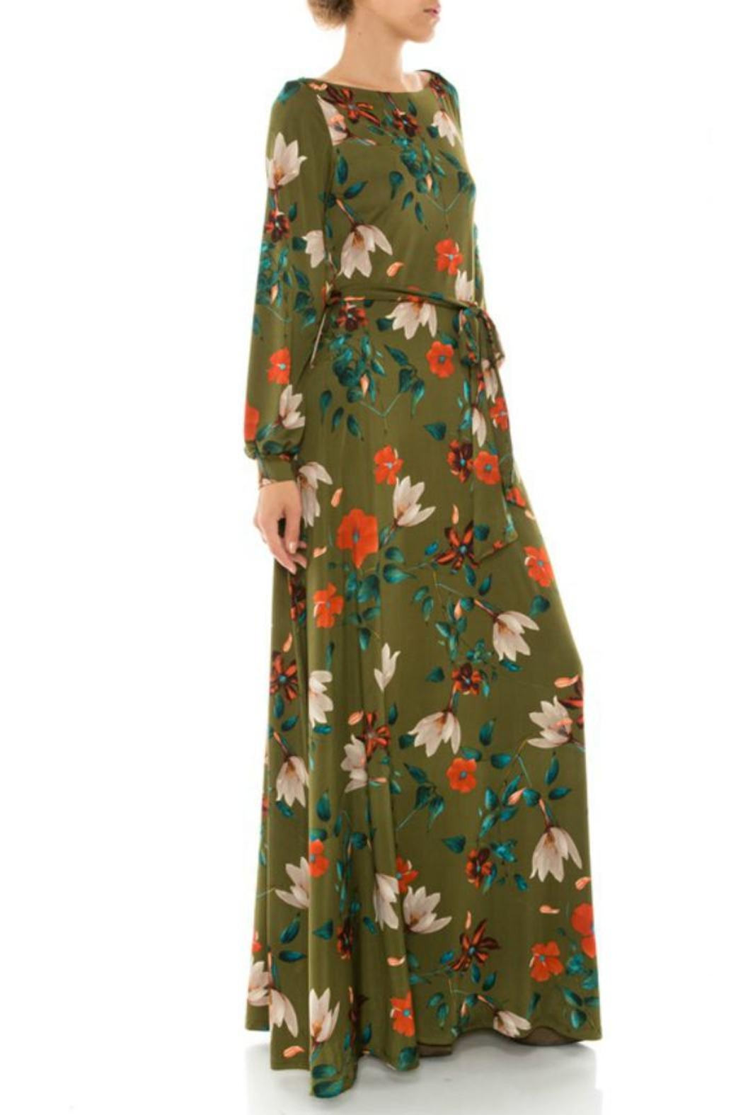 Janette Fall Floral Maxi Dress - Side Cropped Image