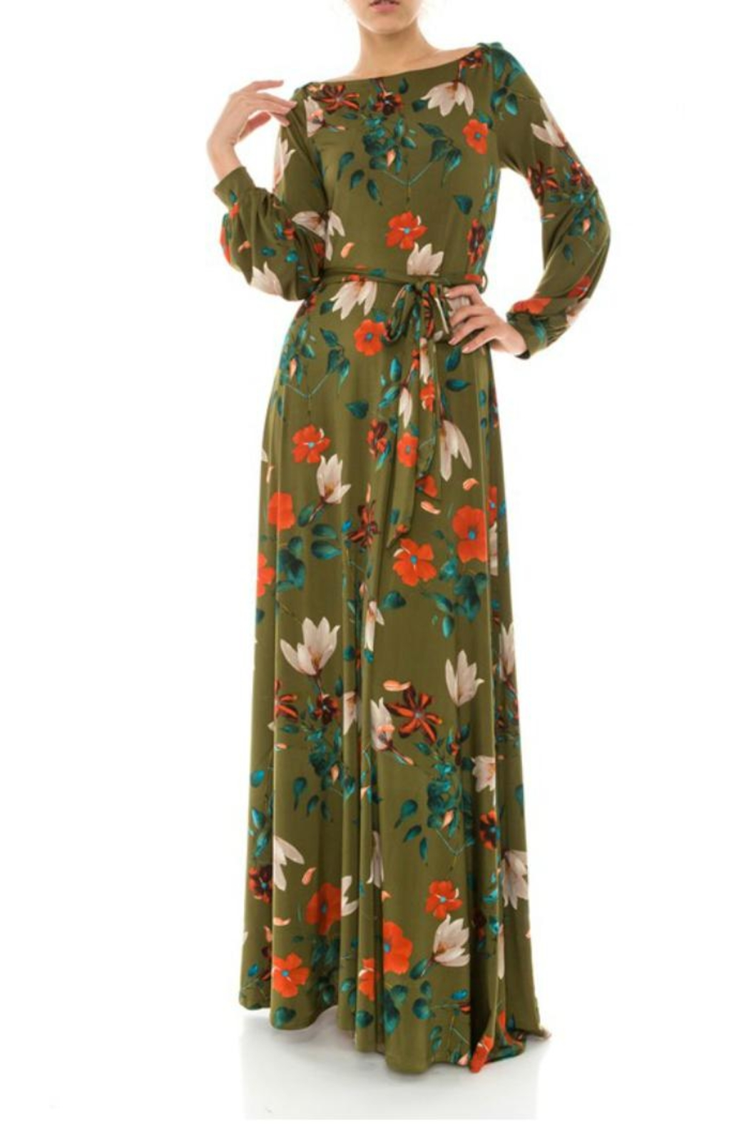 Janette Fall Floral Maxi Dress - Main Image