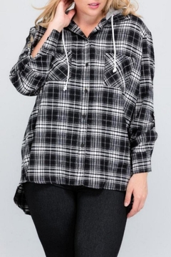 Janette Plus Flannel Hoodie Top - Product List Image