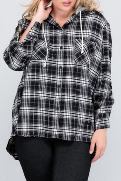 Janette Plus Flannel Hoodie Top - Alternate List Image