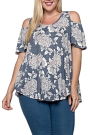Janette Plus Floral Cold Shoulder Top - Product Mini Image