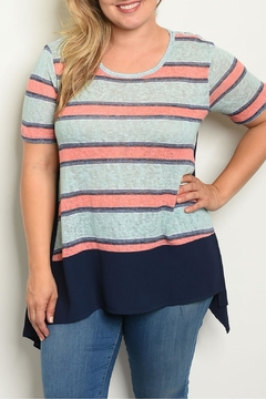 Janette Plus Mint Striped Top - Product List Image