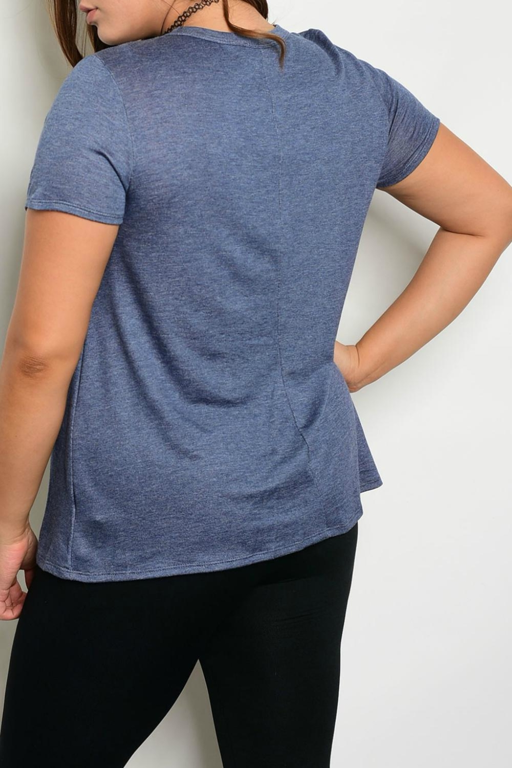 Janette Plus Navy Tie-Up Top - Front Full Image