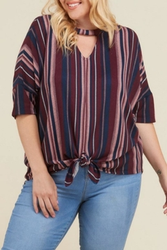f7501411e65 ... Janette Plus Striped Keyhole-Cutout Top - Product List Image