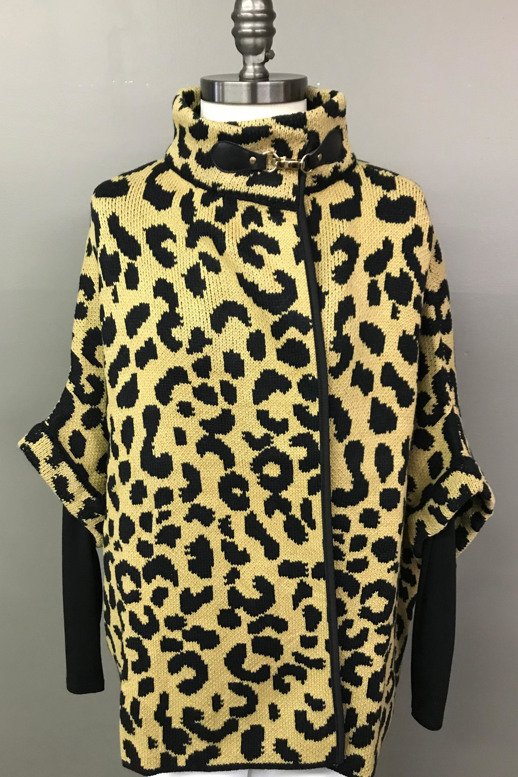 Janice Cheetah Sweater Jacket - Front Cropped Image
