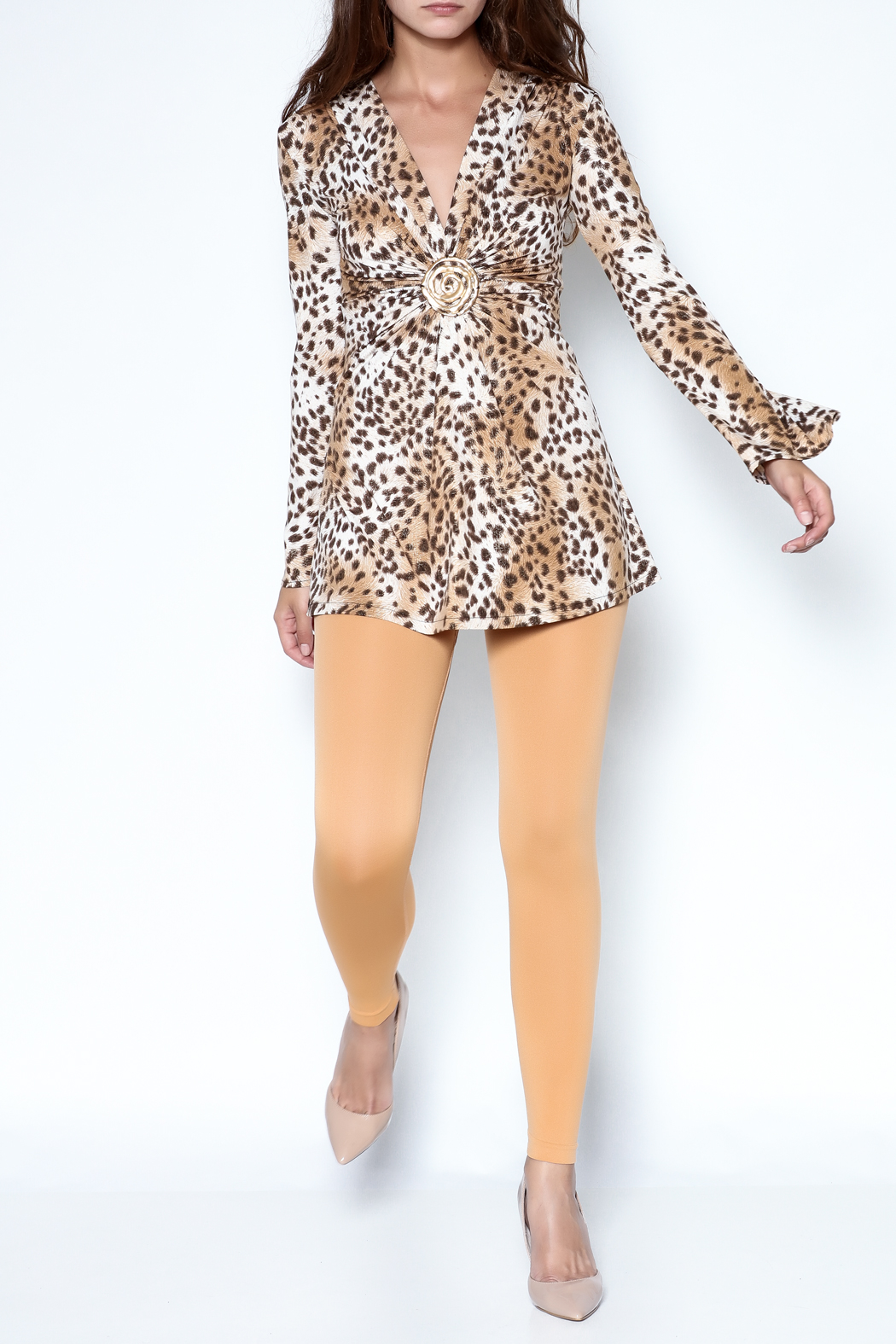Janine Cheetah Sexy Shimmer Top - Front Full Image