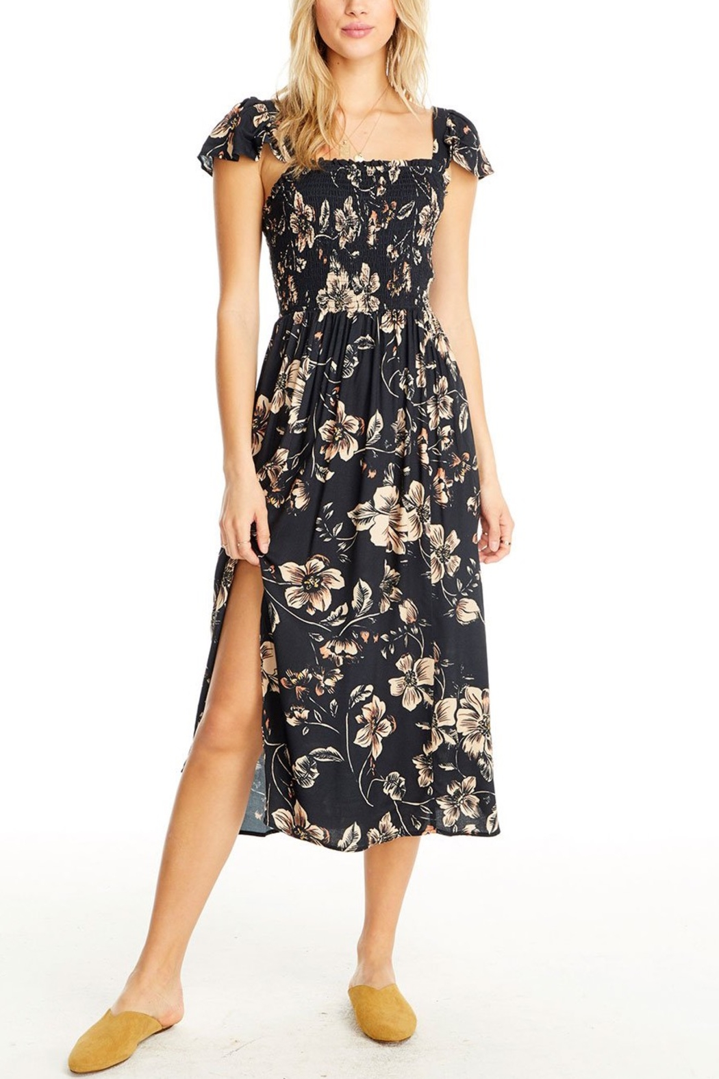 Saltwater Luxe Jasmine Floral Midi Dress - Front Cropped Image