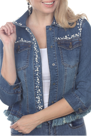 AZI Jeans Jasmine Pearl Studded Denim Jacket - Product Mini Image