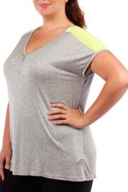 Jasmine Plus-Sized Green/grey Tee - Front cropped