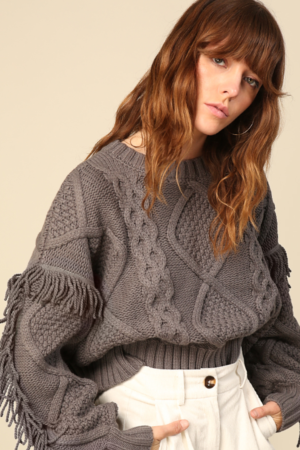 Line & Dot Jasper Fringe Sweater - Back Cropped Image