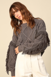 Line & Dot Jasper Fringe Sweater - Front full body