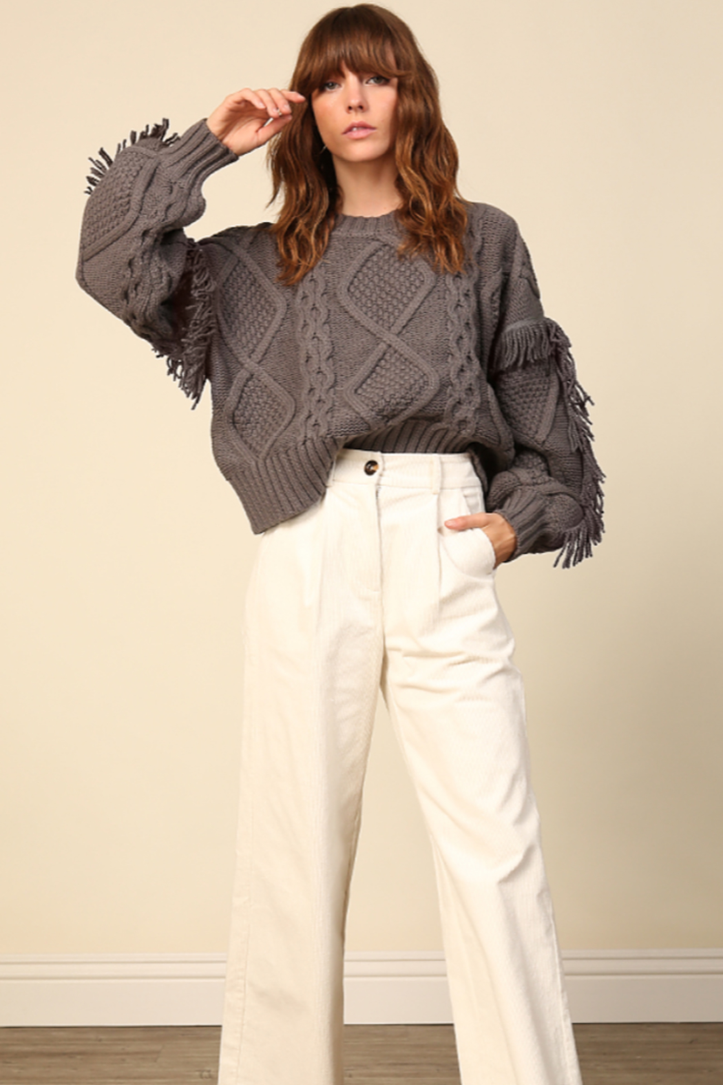 Line & Dot Jasper Fringe Sweater - Main Image