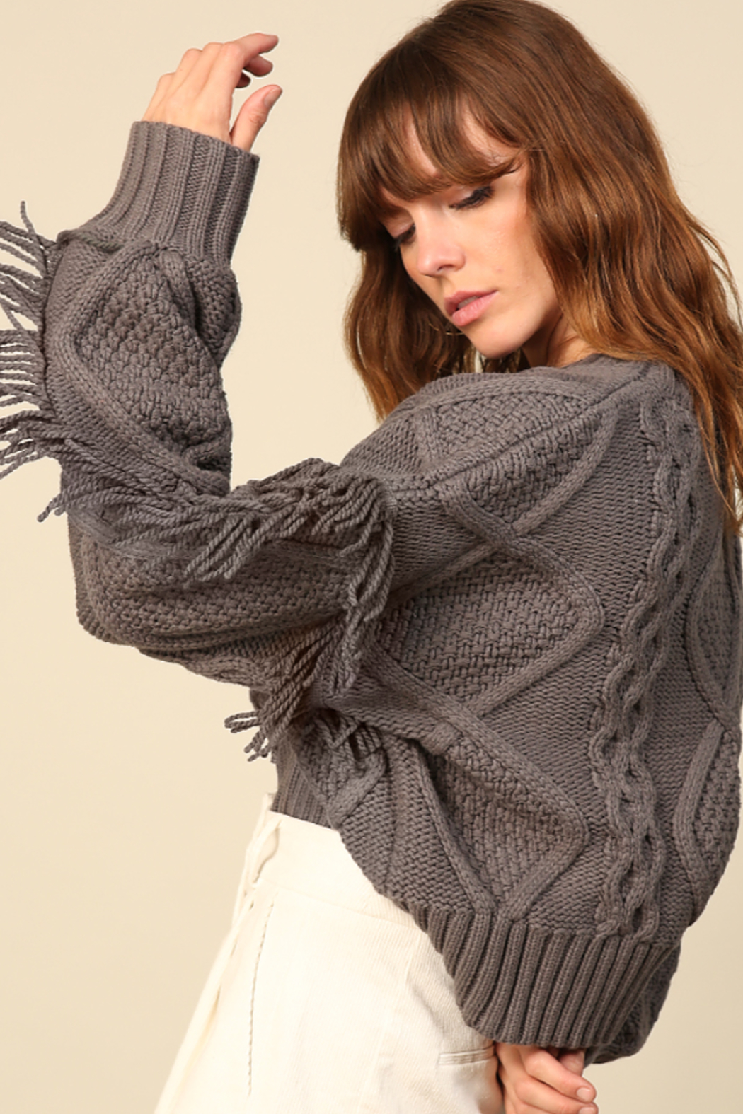 Line & Dot Jasper Fringe Sweater - Side Cropped Image