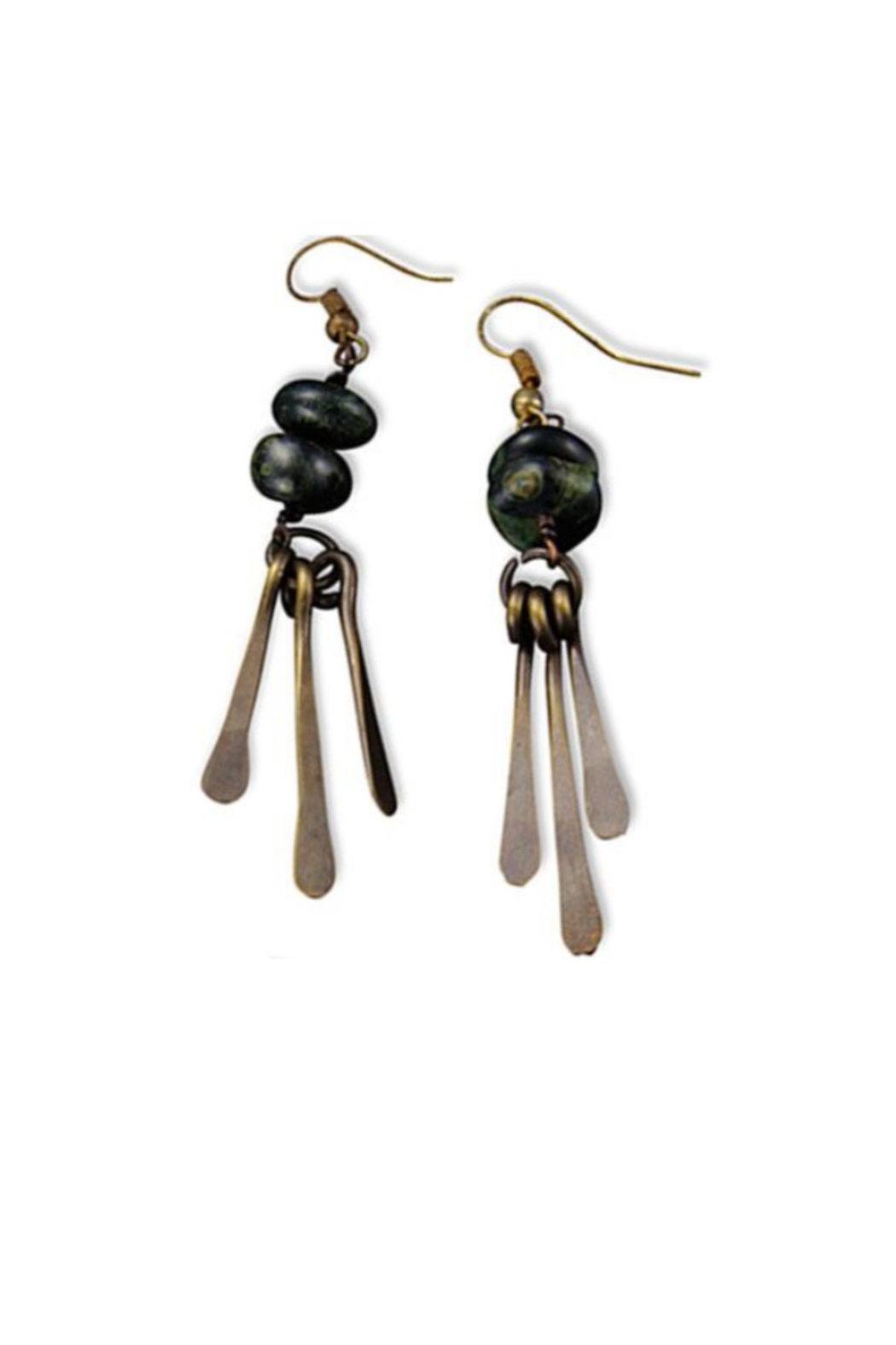Anju Handcrafted Artisan Jewelry Jasper w/ Brass Fringe Earrings - Front Full Image
