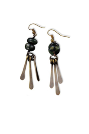 Anju Handcrafted Artisan Jewelry Jasper w/ Brass Fringe Earrings - Front full body