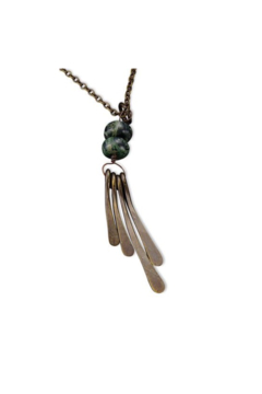 Anju Handcrafted Artisan Jewelry Jasper w/ Brass Fringe Necklace - Product List Image