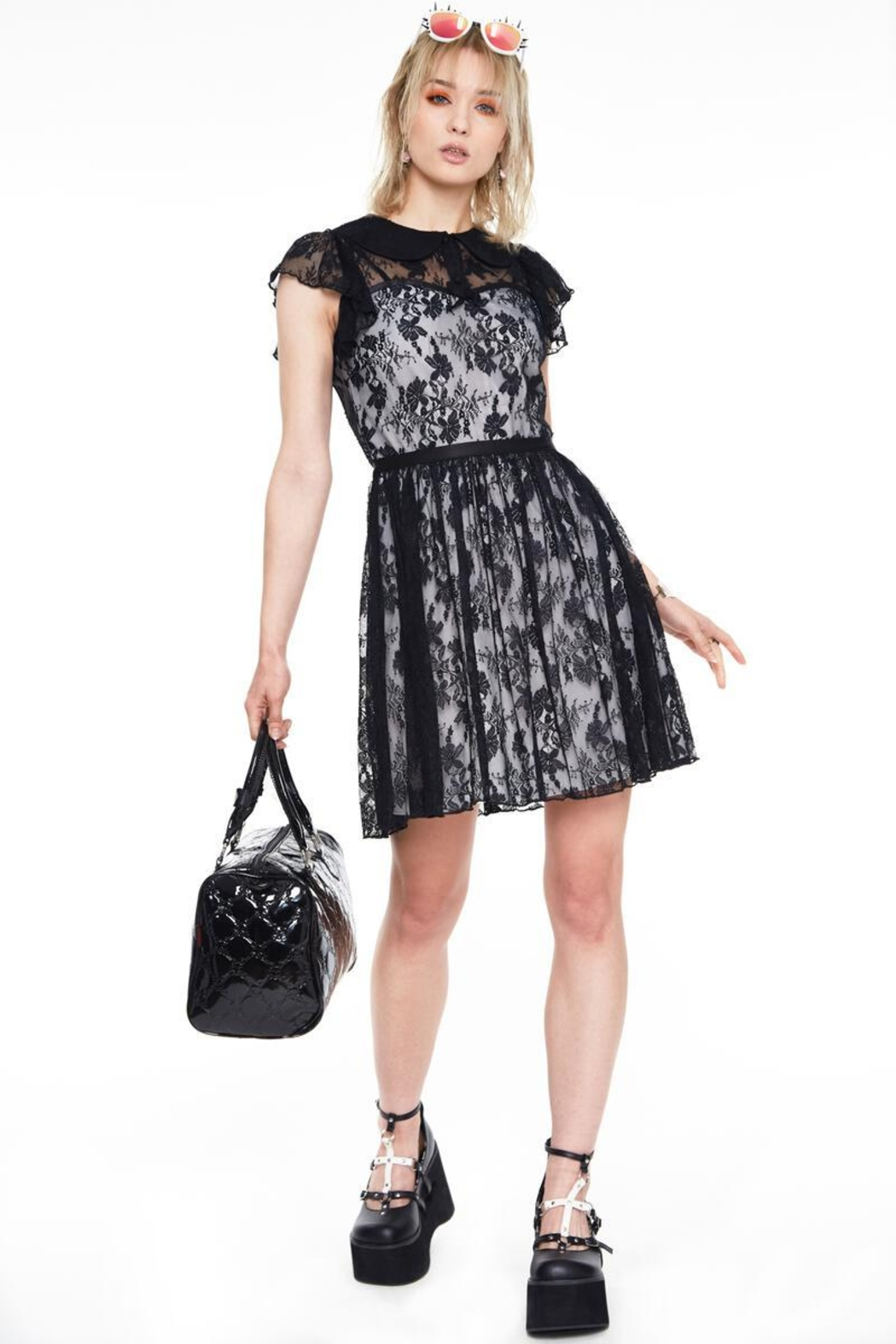 Jawbreaker Lace Overlay Collared-Dress - Side Cropped Image