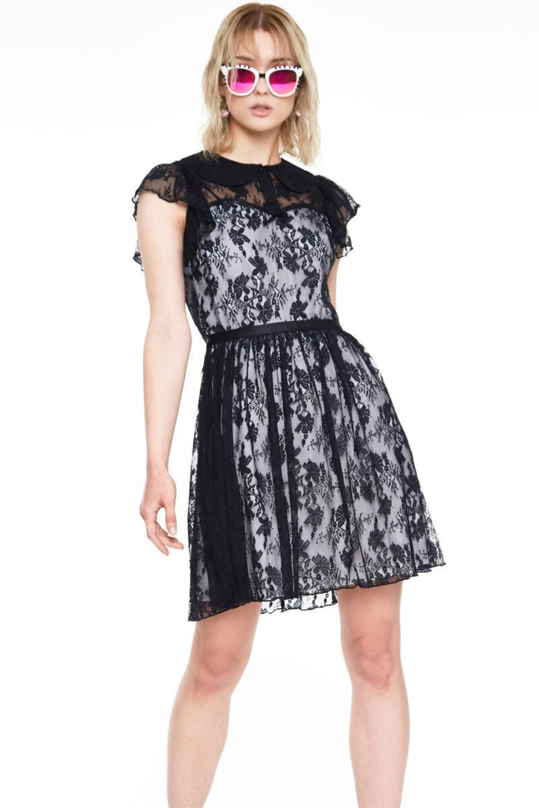 Jawbreaker Lace Overlay Collared-Dress - Front Full Image
