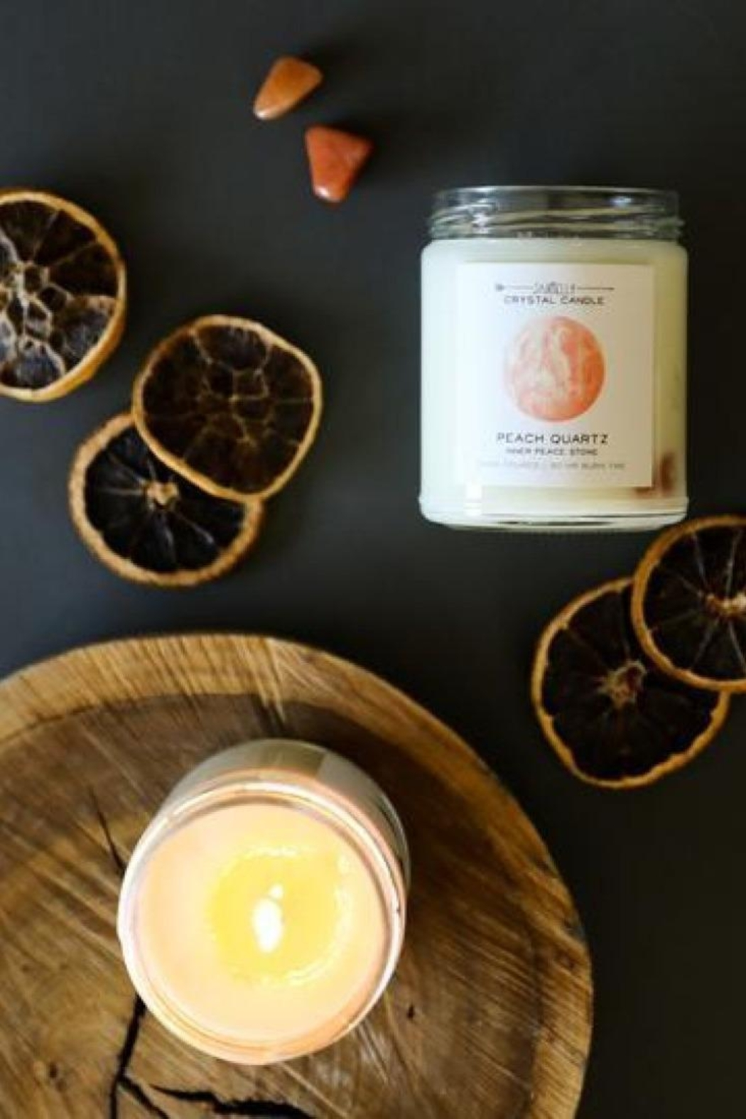 JaxKelly Peach Quartz Crystal Candle - Inner Peace - Side Cropped Image