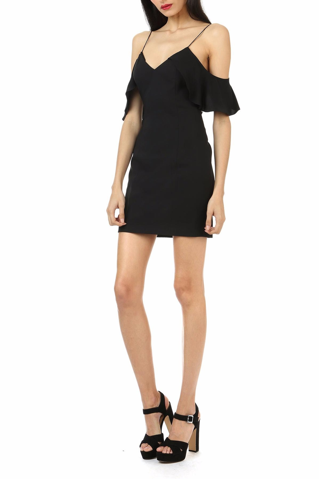 Jay Godfrey Black Cold-Shoulder Mini - Front Full Image