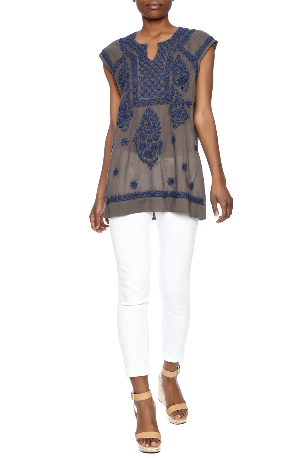 Jayshree Dalal Gray Embroidery Tunic from Texas by Dee Dee Style ...