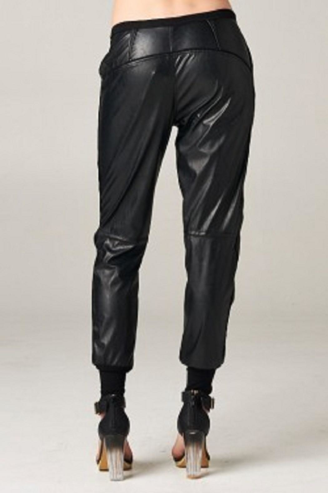 TOV Jazzy Leatherette Joggers - Back Cropped Image