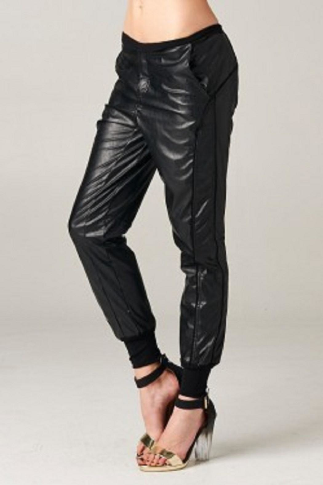 TOV Jazzy Leatherette Joggers - Side Cropped Image