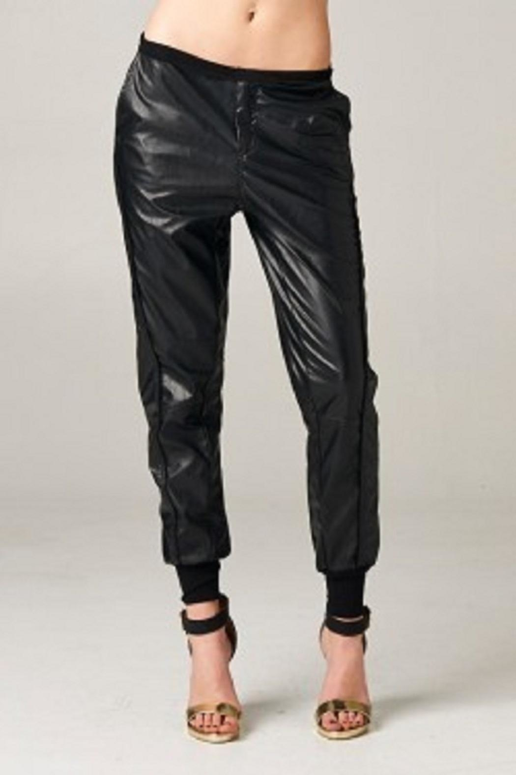 TOV Jazzy Leatherette Joggers - Front Full Image