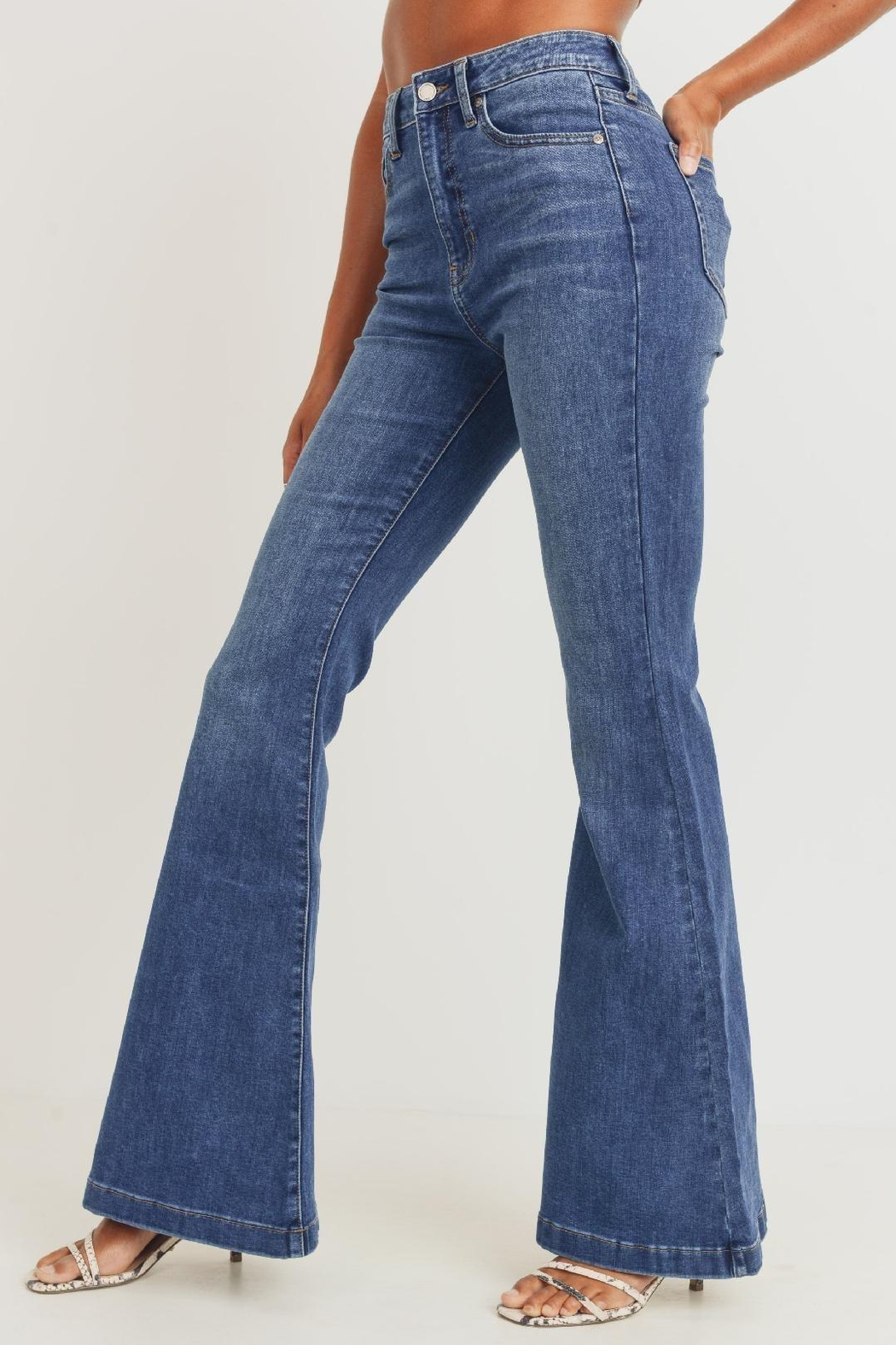 JBD The Cher Ultra High Waist Bell Bottom Jeans - Back Cropped Image