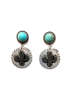 Shoptiques Product: Cactus Turquoise Earrings