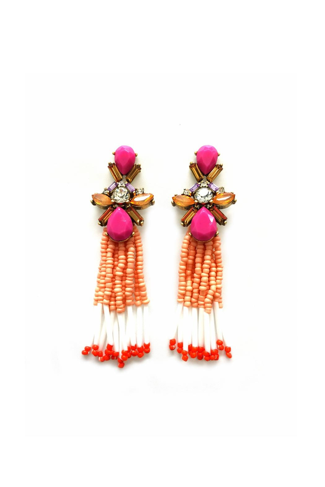 JChronicles Facet-Stone Tassel Earring - Front Cropped Image