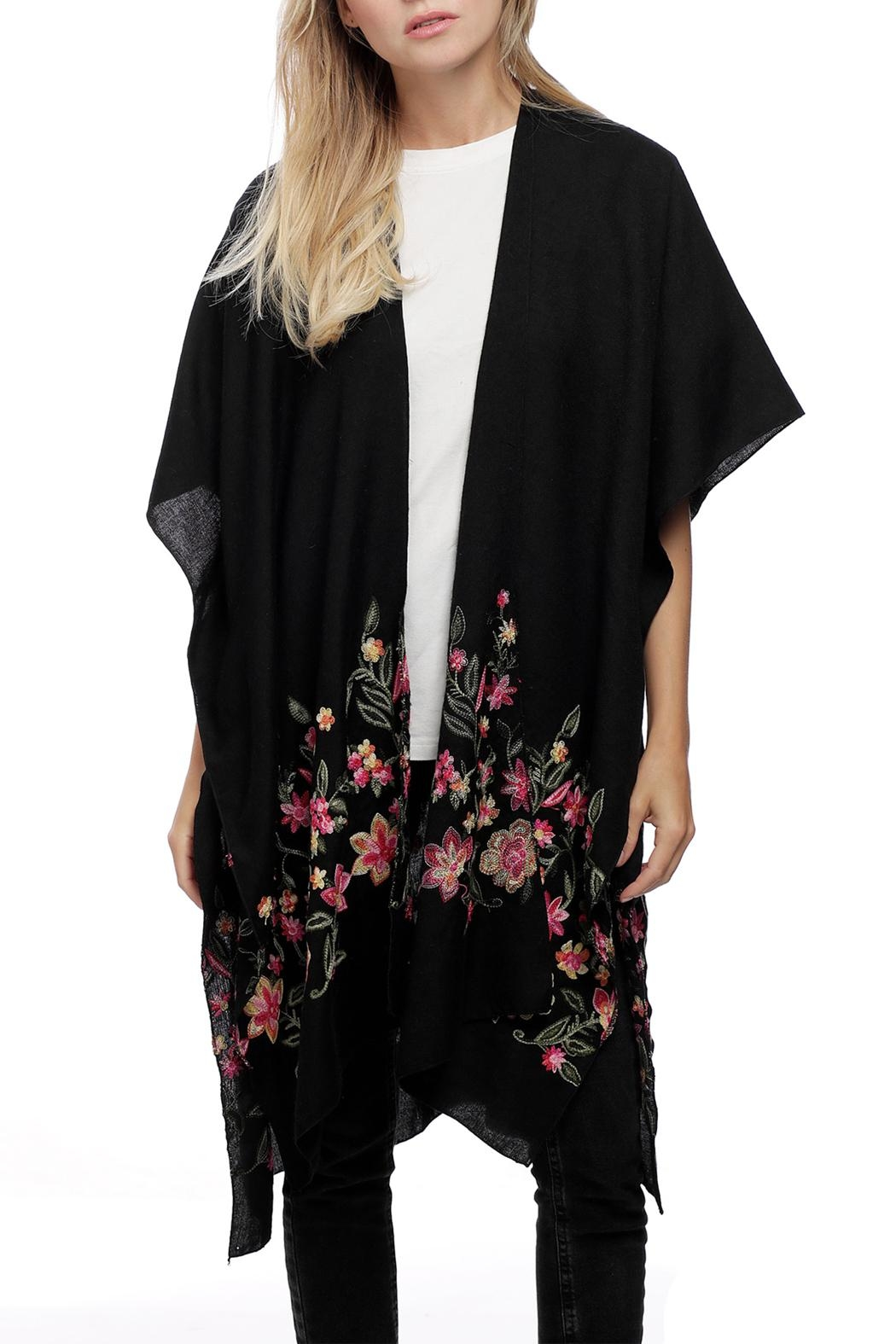 JChronicles Floral Embroidery Ruana - Front Cropped Image