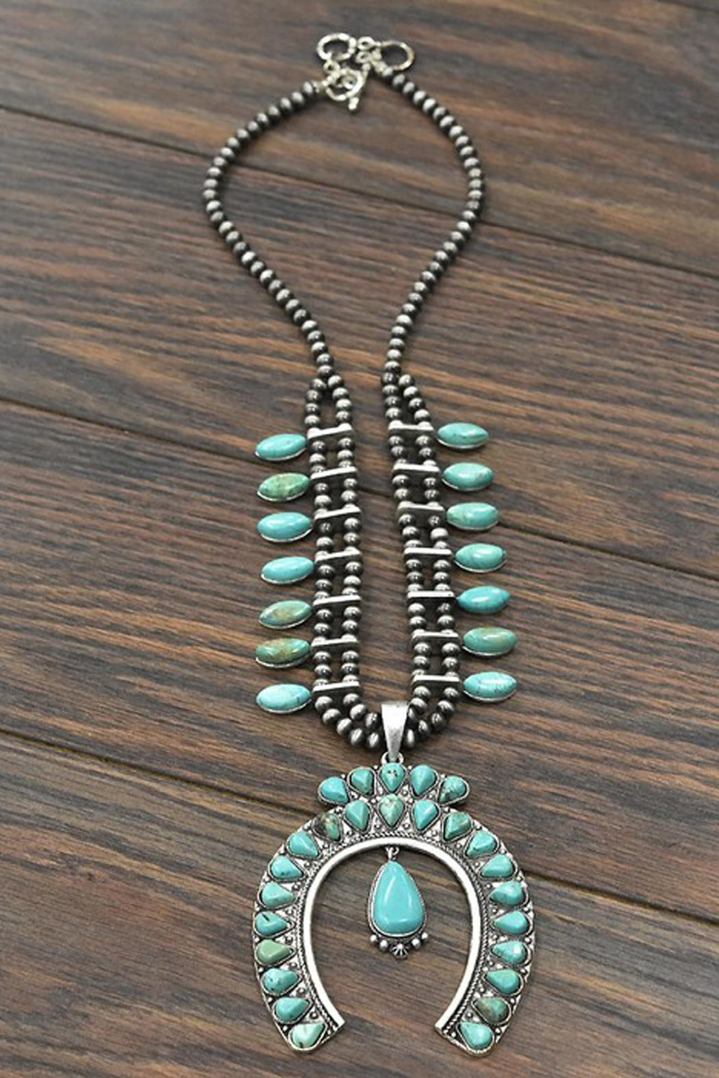 JChronicles Full-Squash-Blossom Natural-Turquoise Necklace - Main Image