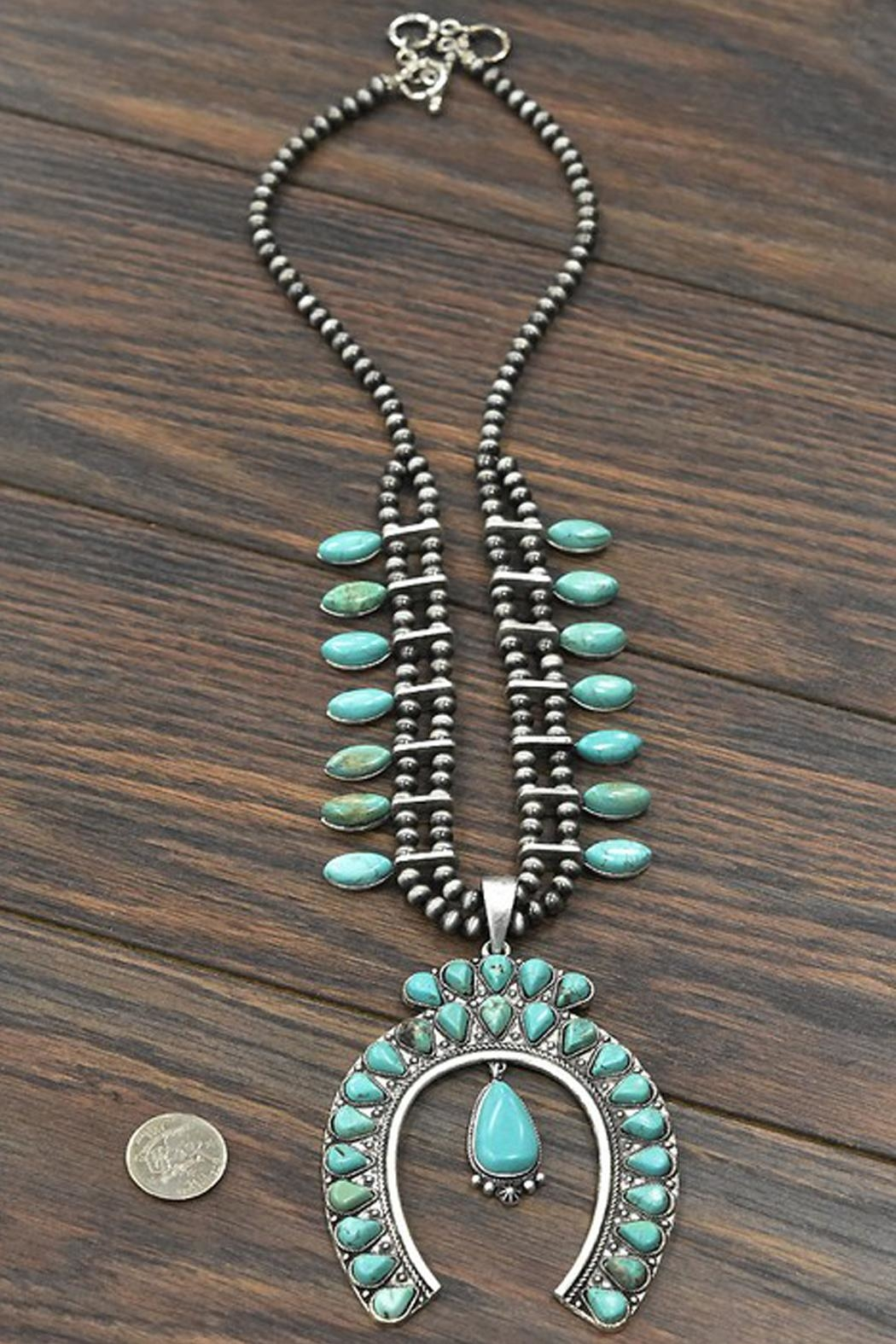 JChronicles Full-Squash-Blossom Natural-Turquoise Necklace - Side Cropped Image