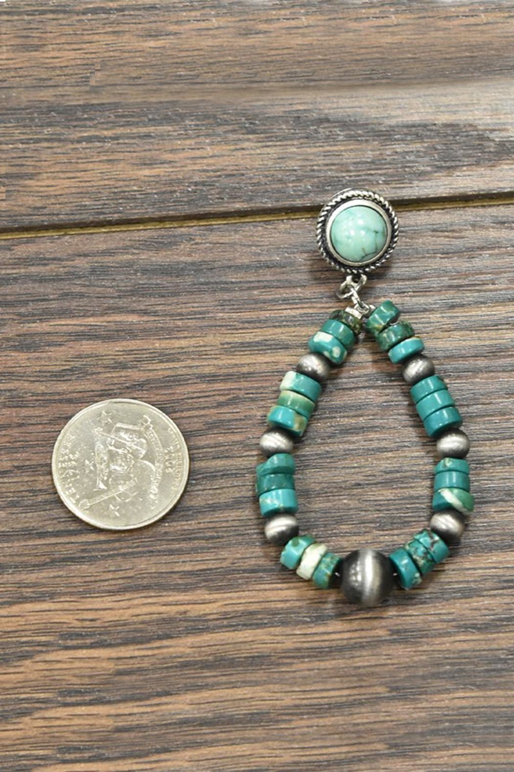 JChronicles Heishi Natural-Turquoise Post-Earrings - Front Full Image