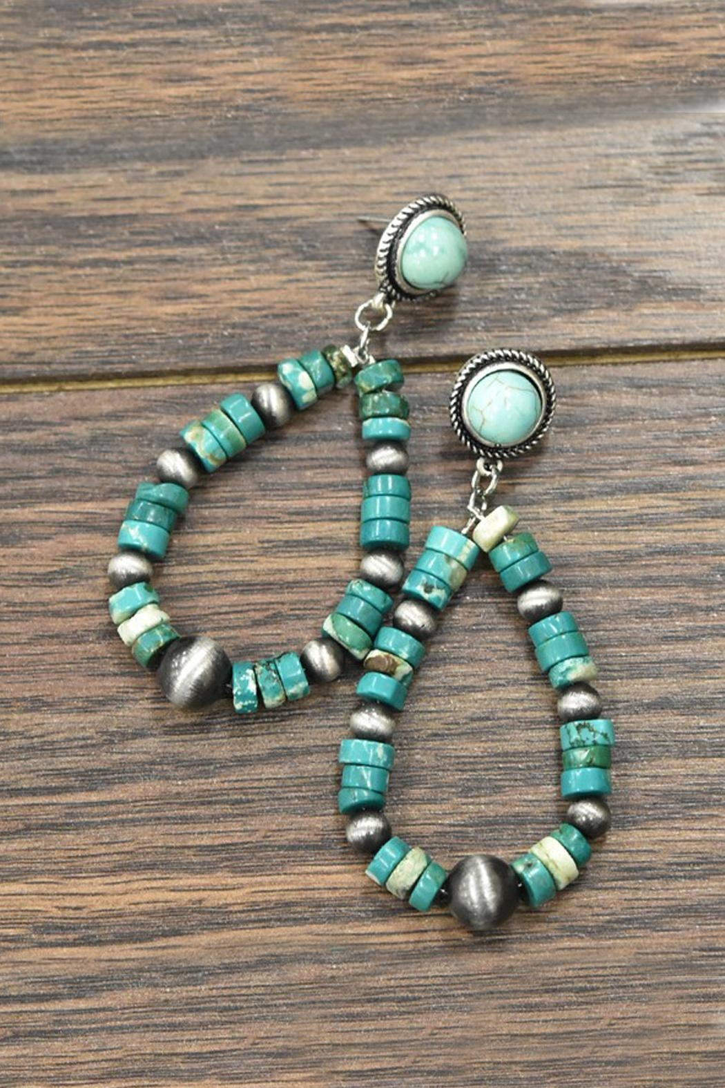 JChronicles Heishi Natural-Turquoise Post-Earrings - Main Image