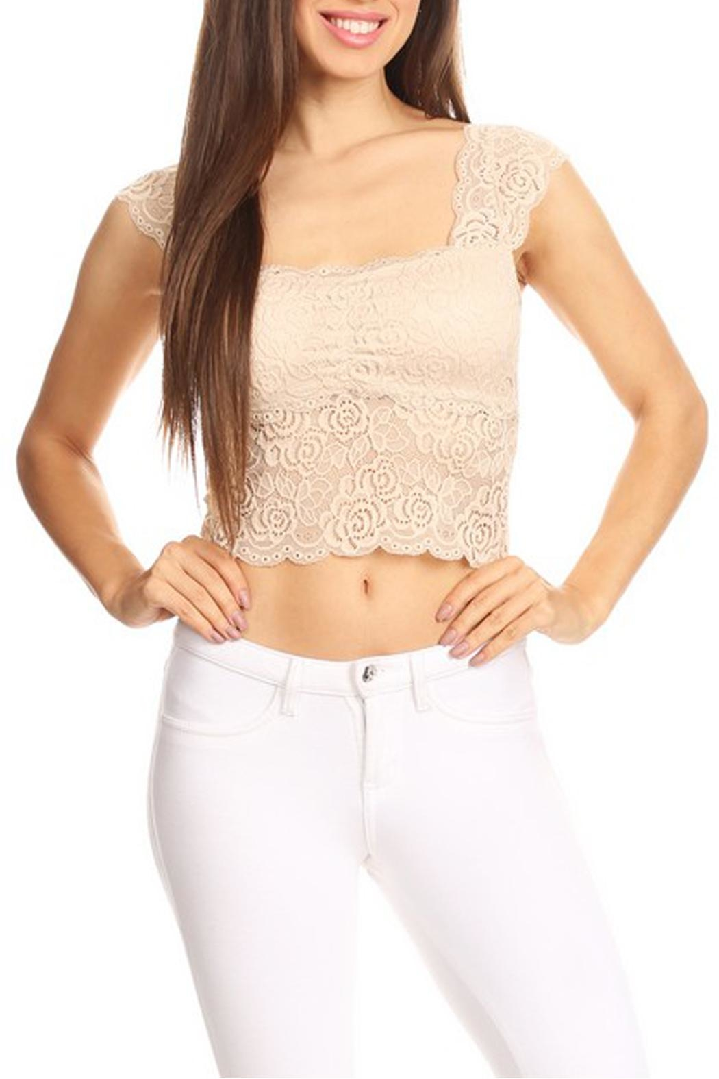 JChronicles Lace Crop Top - Front Cropped Image