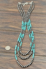 JChronicles Natural Heishi-Turquoise Navajo-Pearl Necklace - Side cropped