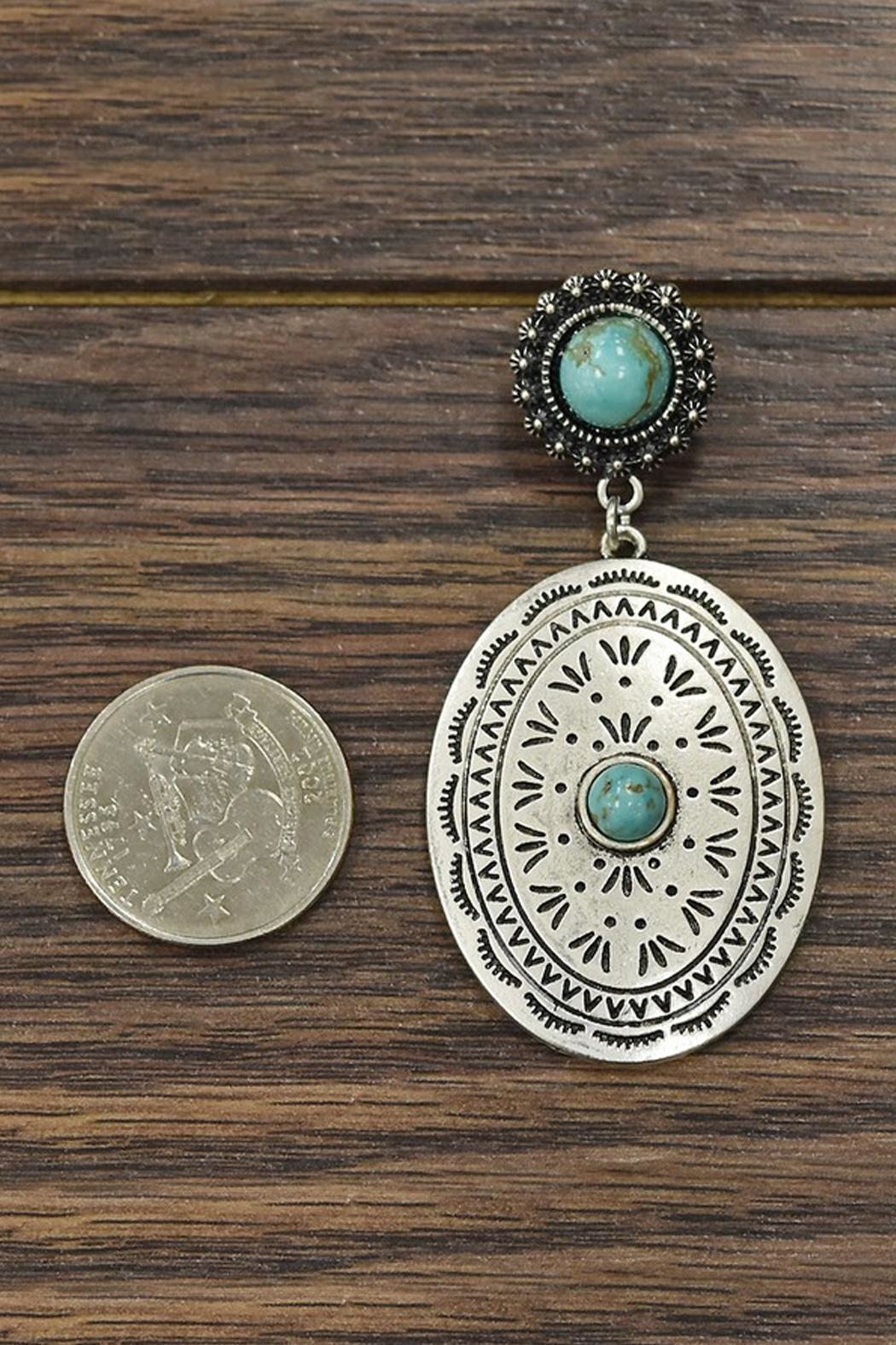 JChronicles Natural-Turquoise Concho Earrings - Front Full Image
